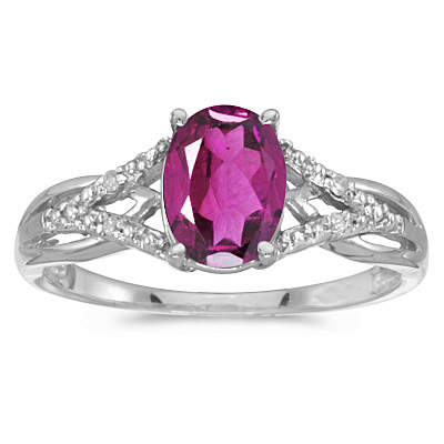 Oval Pink Topaz and Diamond Cocktail Ring 14K White Gold (1.62tcw)