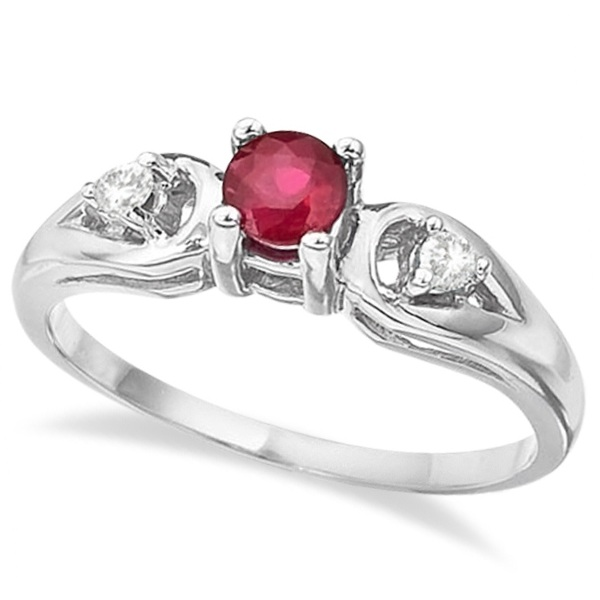Ruby & Diamond Accented Anniversary Ring 14k White Gold (0.35ct)