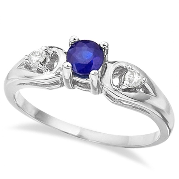 Sapphire & Diamond Accented Anniversary Ring 14k White Gold (0.35ct)