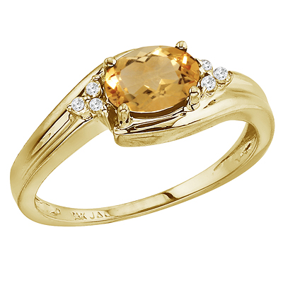 Oval Citrine and Diamond Cocktail Ring 14k Yellow Gold (7x5mm)