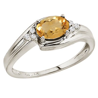 Oval Citrine and Diamond Cocktail Ring 14k White Gold (7x5mm)