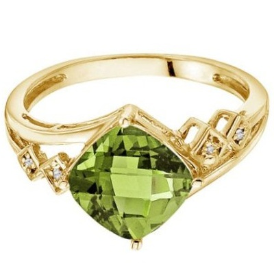 Cushion Cut Peridot & Diamond Cocktail Ring 14k Yellow Gold (8mm)