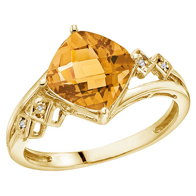 Cushion Cut Citrine & Diamond Cocktail Ring 14k Yellow Gold (8mm)