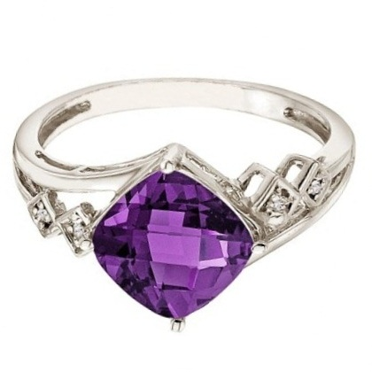 Cushion Cut Amethyst & Diamond Cocktail Ring 14k White Gold (8mm)
