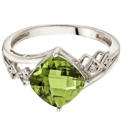 Cushion Cut Peridot & Diamond Cocktail Ring 14k White Gold (8mm)
