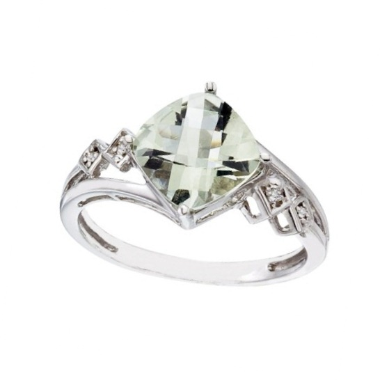 Cushion Cut Green Amethyst & Diamond Cocktail Ring 14k White Gold (8mm)