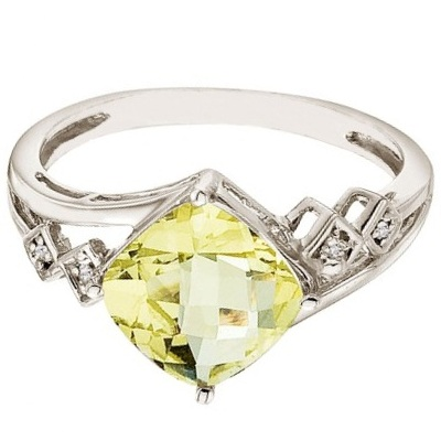 Cushion Cut Lemon Quartz & Diamond Cocktail Ring 14k White Gold (8mm)