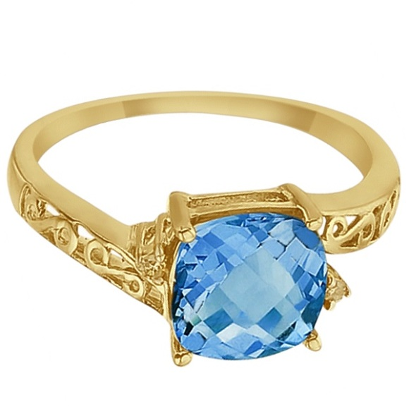 Blue Topaz & Diamond Filigree Vintage Ring 14k Yellow Gold (3.02ct)