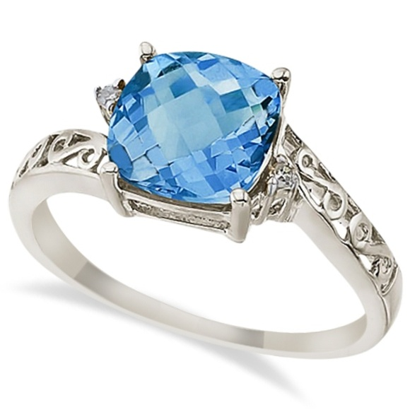 Blue Topaz & Diamond Filigree Vintage Ring 14k White Gold (3.02ct)