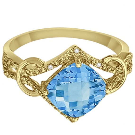 Cushion Blue Topaz & Diamond Right-Hand Ring 14k Yellow Gold (4.05ct)