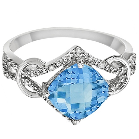 Cushion Blue Topaz & Diamond Right-Hand Ring 14k White Gold (4.05ct)