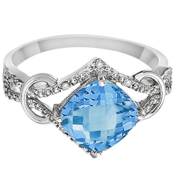 Cushion Blue Topaz & Diamond Right-Hand Ring 14k White Gold (4.05ct)