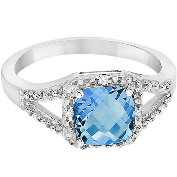 Blue Topaz & Pave Diamond Cocktail Ring in 14K White Gold (1.52ct)
