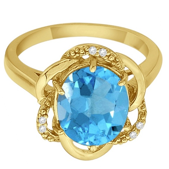 Blue Topaz & Diamond Flower Cocktail Ring 14k Yellow Gold (2.45ct)