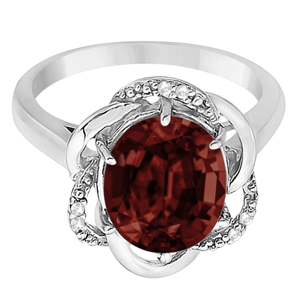 Garnet & Diamond Flower Cocktail Ring 14k White Gold (2.45ct)
