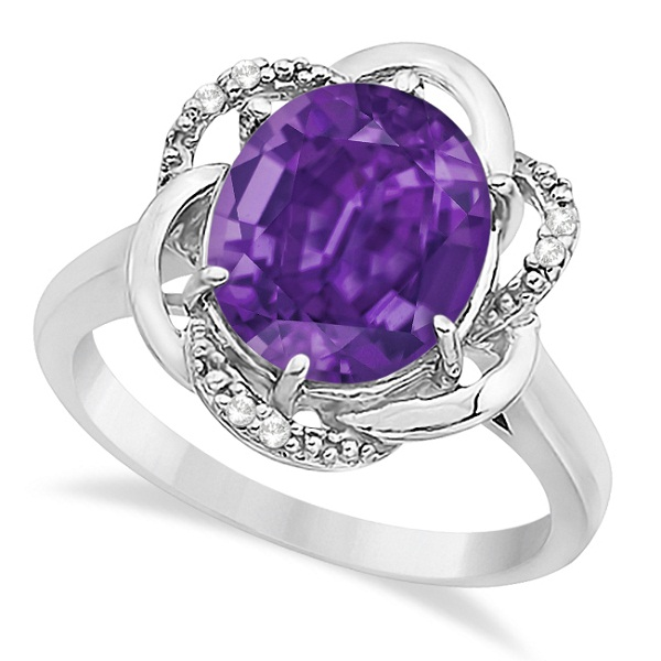 Purple Amethyst & Diamond Flower Cocktail Ring 14k White Gold (2.45ct)