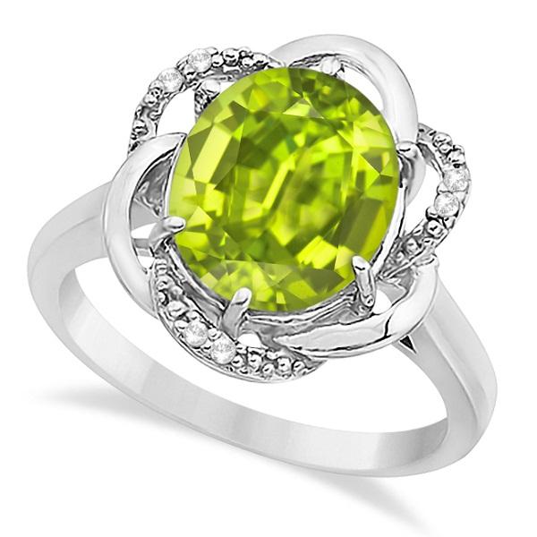 Peridot & Diamond Flower Cocktail Ring 14k White Gold (2.45ct)