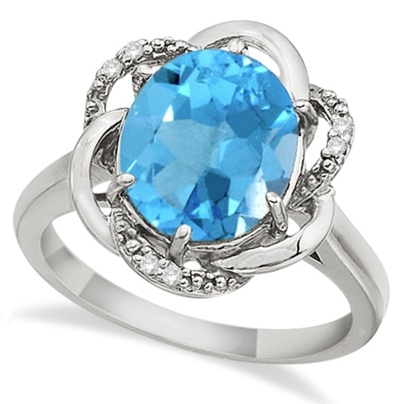 Blue Topaz & Diamond Flower Cocktail Ring 14k White Gold (2.45ct)