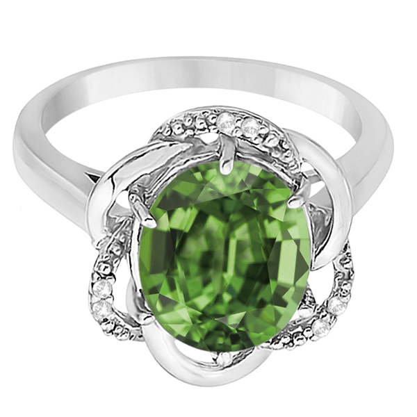 Green Amethyst & Diamond Flower Cocktail Ring 14k White Gold (2.45ct)