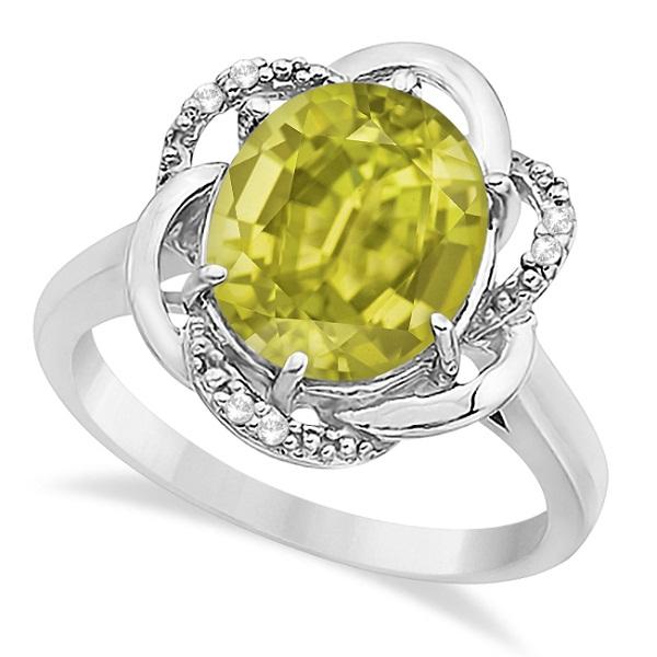 Lemon Quartz & Diamond Flower Cocktail Ring 14k White Gold (2.45ct)