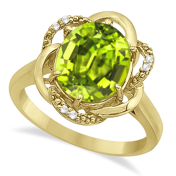 Peridot & Diamond Flower Cocktail Ring 14k Yellow Gold (2.45ct)