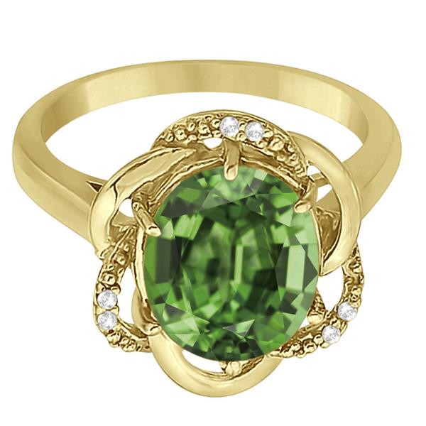 Green Amethyst & Diamond Flower Cocktail Ring 14k Yellow Gold (2.45ct)