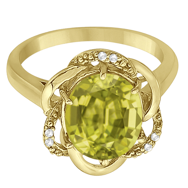 Lemon Quartz & Diamond Flower Cocktail Ring 14k Yellow Gold (2.45ct)