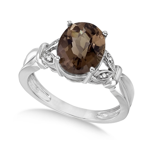 Smoky Topaz & Diamond Accented Cocktail Ring 14k White Gold (2.55ct)