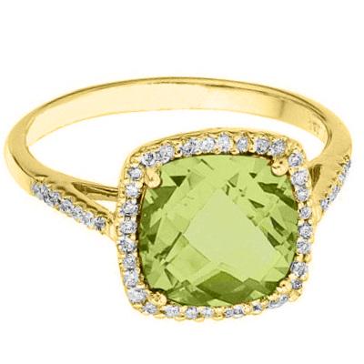 Cushion-Cut Peridot & Diamond Cocktail Ring 14k Yellow Gold (3.70cttw)