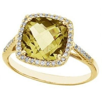 Cushion Lemon Quartz & Diamond Cocktail Ring 14k Yellow Gold (3.70ct)