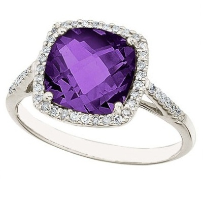 Cushion-Cut Amethyst & Diamond Cocktail Ring 14k White Gold (3.70cttw)