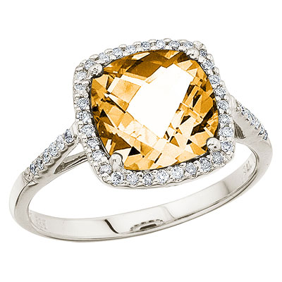 Cushion Cut Citrine & Diamond Cocktail Ring 14k White Gold (3.70cttw)