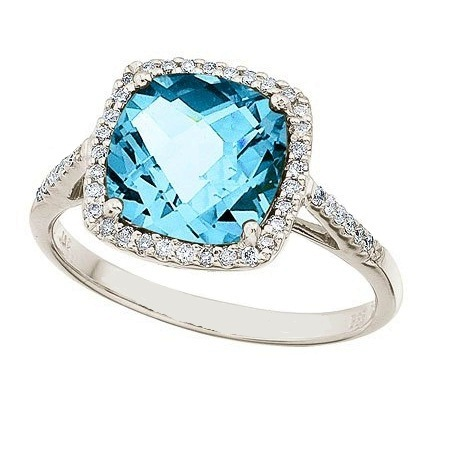 Cushion-Cut Blue Topaz & Diamond Cocktail Ring 14k White Gold (3.70ct)