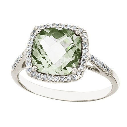 Cushion Green Amethyst & Diamond Cocktail Ring 14k White Gold (3.70ct)