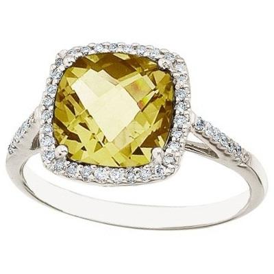 Cushion Lemon Quartz & Diamond Cocktail Ring 14k White Gold (3.70ct)