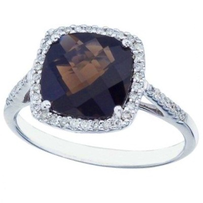Cushion Smoky Topaz & Diamond Cocktail Ring 14k White Gold (3.70ct)