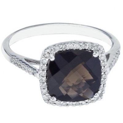 Cushion Smoky Topaz & Diamond Cocktail Ring 14k White Gold (3.70ct)