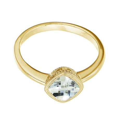Cushion-Cut Green Amethyst Antique Style Ring 14K Yellow Gold (6mm)