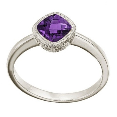 Cushion-Cut Amethyst Antique Style Ring in 14K White Gold (6mm)