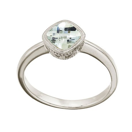 Cushion-Cut Green Amethyst Antique Style Ring 14K White Gold (6mm)