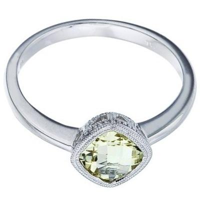 Cushion-Cut Lemon Quartz Antique Style Ring in 14K White Gold (6mm)