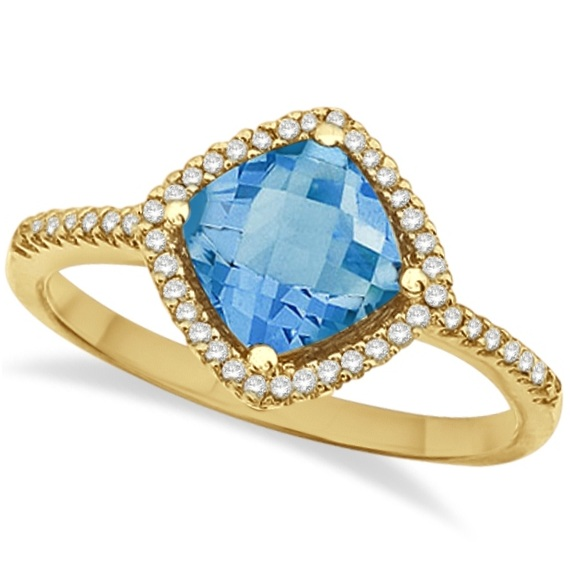 Cushion Blue Topaz & Diamond Cocktail Ring 14k Yellow Gold (1.50ct)