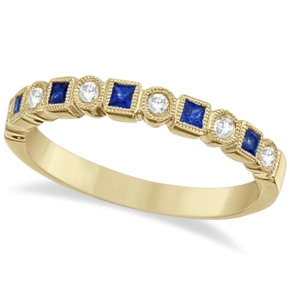 Princess Cut Sapphire & Diamond Ring Band 14k Yellow Gold (0.40ct)