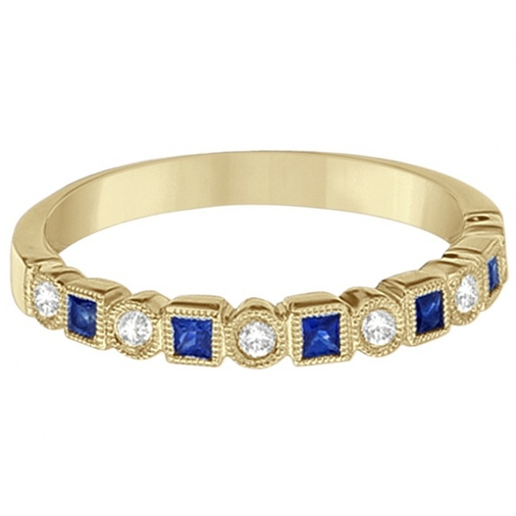 Princess Cut Sapphire & Diamond Ring Band 14k Yellow Gold (0.40ct)