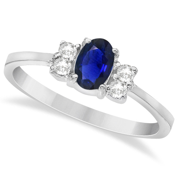 Solitaire Oval Blue Sapphire & Diamond Ring 14K White Gold (0.72ct)