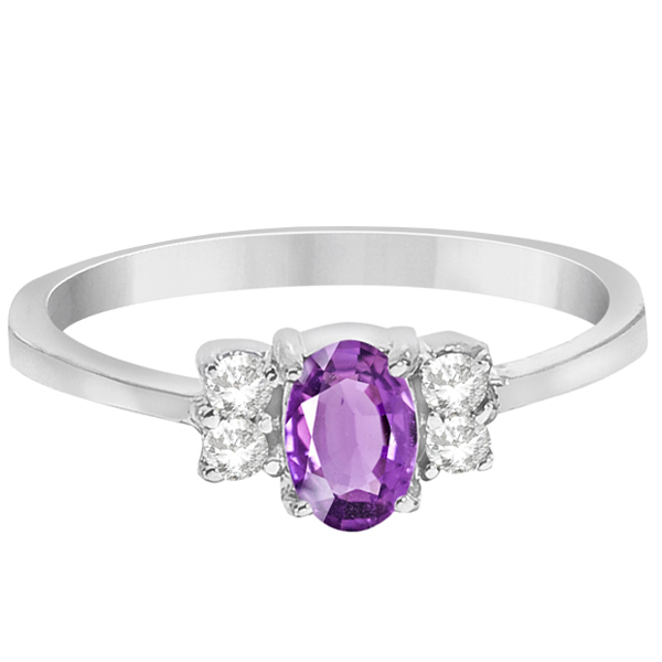 Solitaire Oval Purple Amethyst & Diamond Ring 14K White Gold (0.72ct)