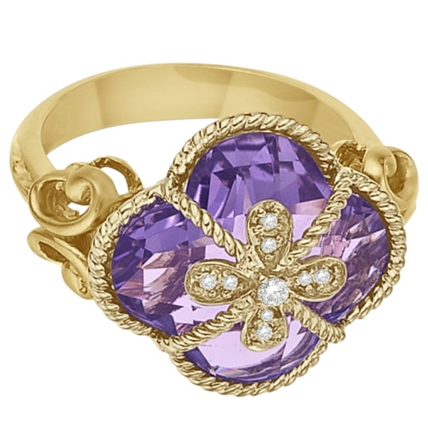 Clover Amethyst & Diamond Cocktail Ring 14k Yellow Gold (9.00ct)