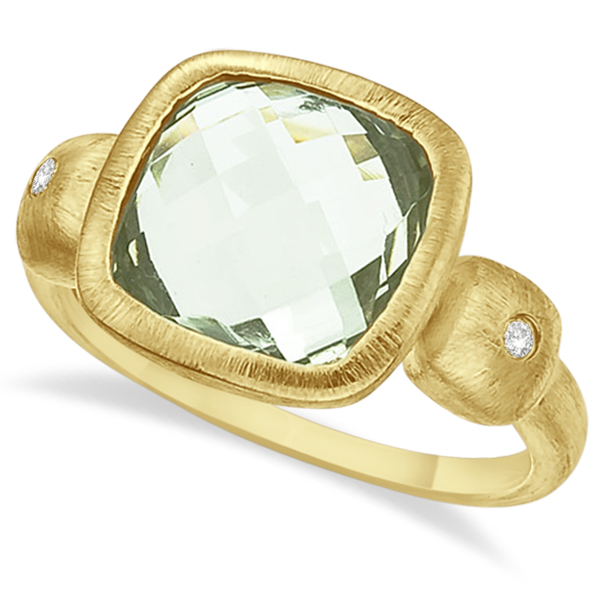 Cushion Green Amethyst Cocktail Ring Brushed 14k Yellow Gold (6.25ct)