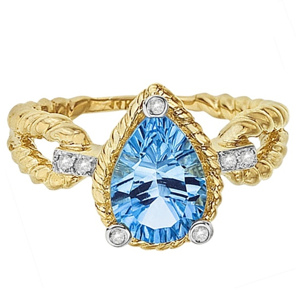 Pear-Cut Blue Topaz Rope Cocktail Ring 14k Yellow Gold (2.35ct)