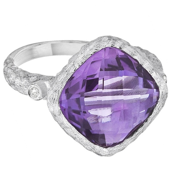 Cushion-Cut Amethyst Vintage Solitaire Ring 14k White Gold (6.25ct)